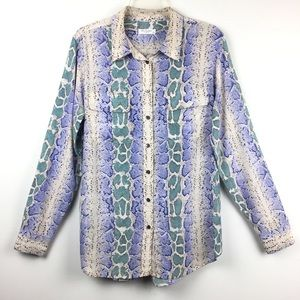 Equipment Silk Snake Print Button Down Shirt